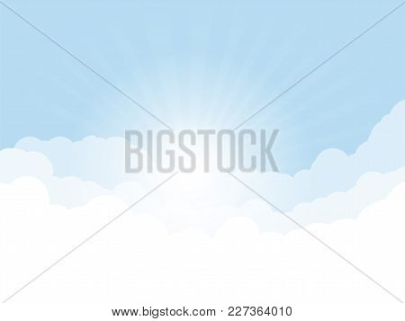 Blue Sky, And High Clouds. Rising Sun With Rays Above Clouds. Religion Or Heaven Concept. White Clou