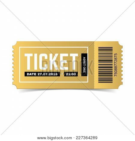 Vector Golden Ticket Isolated On White Background. Luxury, Premium Design. Icon Picture For Website.