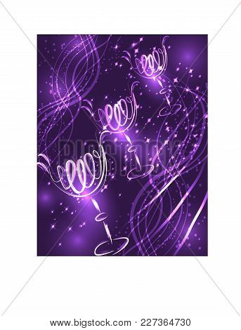 Three Glasses Of Cocktail On A Lilac Background With Stars And Lights, Disco, Club, Neon Glow