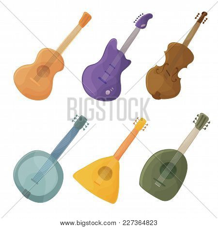 Musical Stringed Instruments In Cartoon Style Guitar, Violin, Balalaika, Lute - Vector
