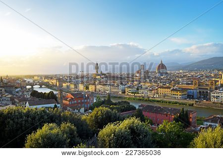 Panoramic View Of Florence Before Sunset In The Autumn.