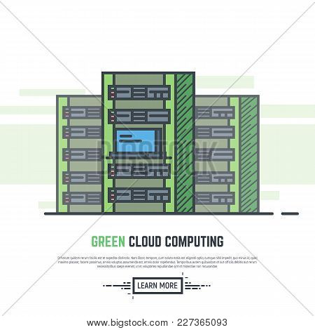 Server Room With Three Big Towers. Cloud Computing Banner. Green Eco Friendly Power For Cloud Comput