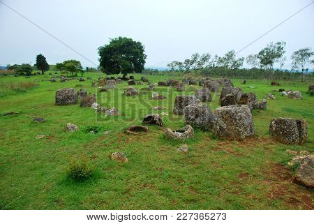 Giant Megalithic Stone Urns At The Plain Of Jars Archaeological Site In Loas. This Area Is Also The