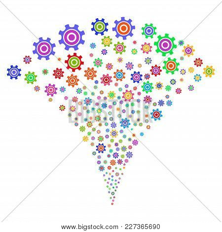 Multi Colored Cogwheel Explosion Fountain. Object Fountain Combined From Random Cogwheel Design Elem