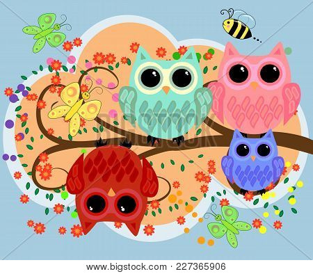 Happy Family Of Owls On Flowering Tree Branches. Daddies, Mothers And Children, Grandparents. Spring