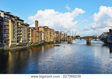 View From Ponte Vecchio In Florence In Italy.