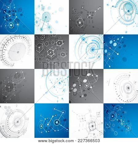Collection Of Bauhaus Backdrops, Art Dimensional Vector Background Made With Honeycombs, Lines And C