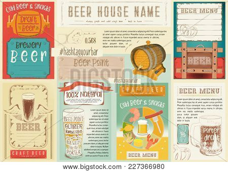 Beer Drawn Menu Design. Craft Beer Placemat For Restaurant, Bar, Pub And Cafe In Retro Style. Drink