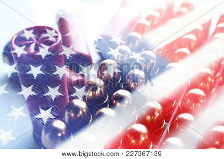 American Flag With 45 Auto Bullets & Shotgun Shells High Quality Stock Photo