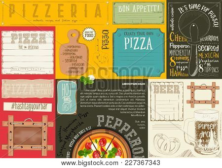 Pizzeria Placemat - Paper Napkin For Pizza House With Place For Text And Beer In Retro Style. Vector