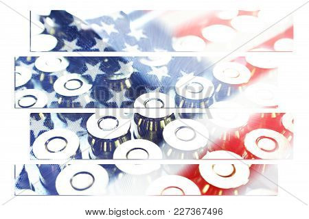American Flag Art With Bullets High Quality Stock Photo