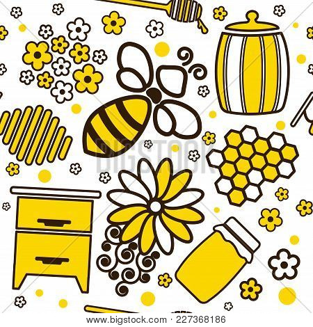 Seamless Cartoon Pattern With Honey Jars And Bee. Vector