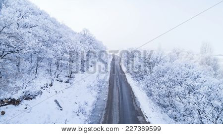 Frost,matte White,snow,roads And Landscapes ;winter Roads Concept