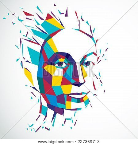 3d Vector Illustration Of Human Head Created In Low Poly Style. Face Of Pensive Female, Smart Person