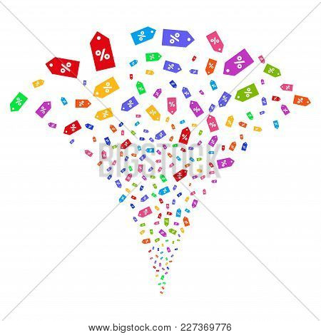 Multicolored Discount Tag Exploding Fountain. Object Fountain Created From Random Discount Tag Icons