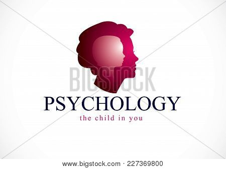 Psychology, Mental Health Vector Design, Created With Woman Head Profile And Little Child Girl Insid