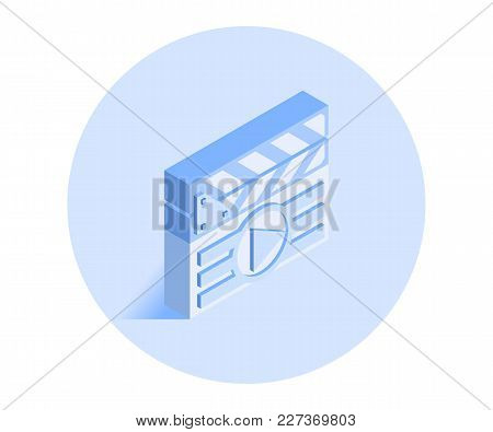 Clapperboard Icon. Vector Illustration In Flat Isometric 3d Style.