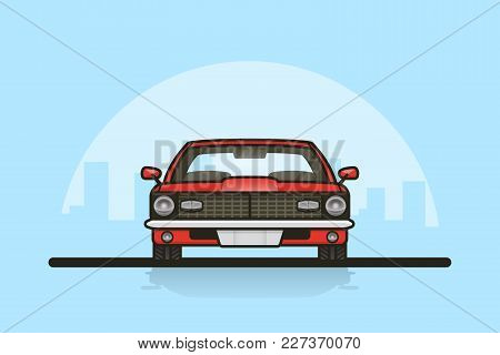 Picture Of A Muscle Car With Big City Sillhouette On Background. Front Side View.