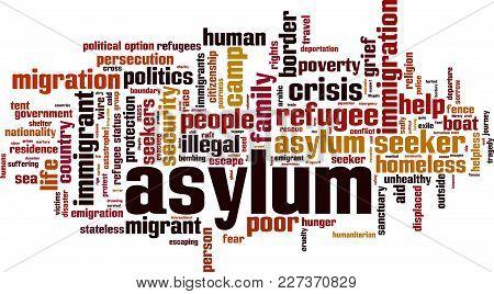 Asylum Word Cloud Concept. Vector Illustration On White