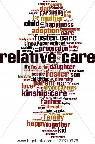 Relative Care Word Cloud Concept. Vector Illustration On White