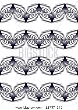 Geometric Seamless Pattern, Abstract Tiling Background, Vector Repeat Endless Illustration. Wavy Cur