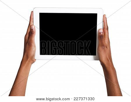 Black Female Hands Holding Digital Tablet Isolated. African-american Woman With Gadget With Blank Sc