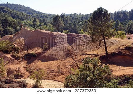Red Landscape Dug By Six Generations Of Miners Ocher Colorado Provencal At Rustrel In The South Of F