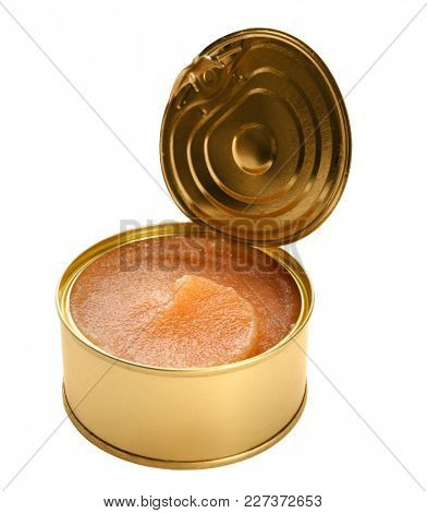 Delicious cod caviar in tin can on white background