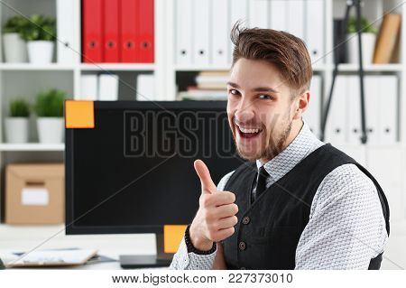 Businessman Showing Thumbs Up In Office Busines Peope