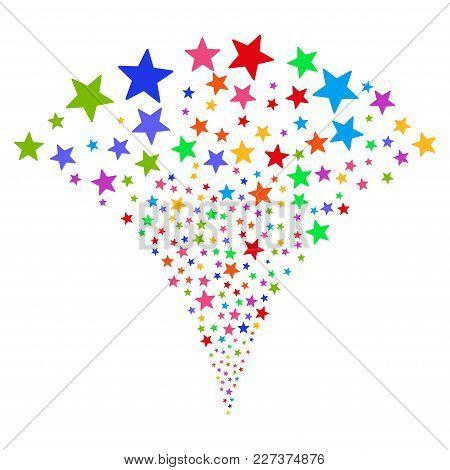 Multicolored Fireworks Star Stream Fountain. Object Fountain Done From Random Fireworks Star Pictogr