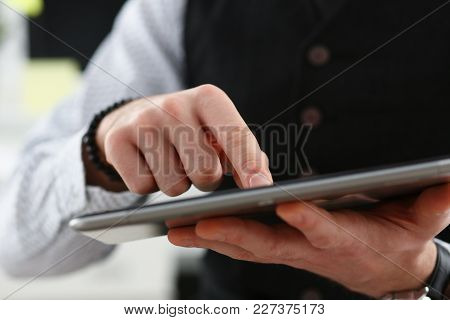 Male Arm Point Finger Using Tablet Pc Display Closeup. Stock Market Student Management Time Chat Add