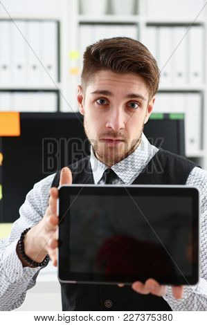 Male Arm Show Tablet Pc Screen To Camera Portrait. Stock Market Student Management Time Chat Addict