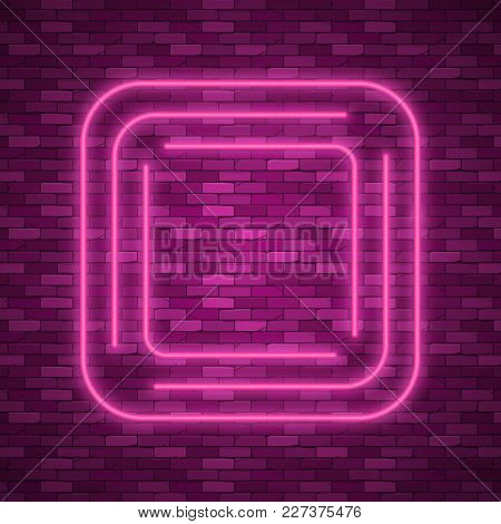 Blue Abstract Neon Square Shape. Glowing Vintage Or Futuristic Frame. Simple Electric Symbol For Adv