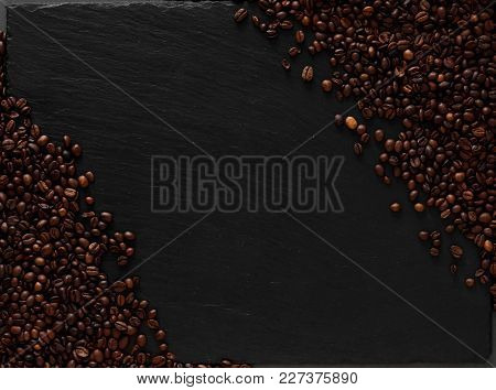 Template With Coffee Beans Flatlay. Dark Texturiset Background.