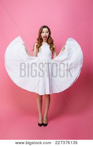 Image of happy young lady standing isolated over pink background wall. Looking camera.