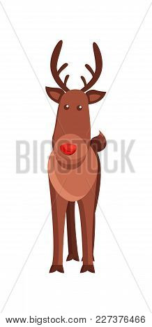 Christmas Deer Horned Animal Vector Illustration Isolated On White Background. Wild Forest Mammal Wi