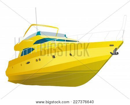 Yellow Motor Boat. Sea Yacht For Fishing And Leisure Time. Luxury Expensive Motorboat, Luxurious Pow