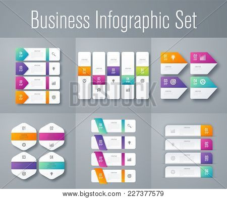 Set With Infographics. Data And Information Visualization. Template. Stock Vector. Dynamic Infograph