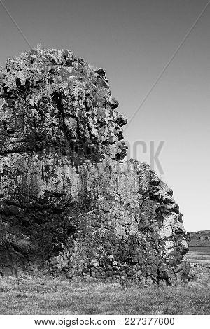 Big Troll Stone In Drangsnes In Iceland In Summer