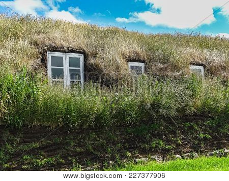 Glaumbaer Village And Small Cottages With Turf Roofs In Northern Iceland
