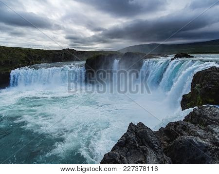 Godafoss, One Of Icelands Most Beautiful And Popular Waterfall During A Beautiful Day