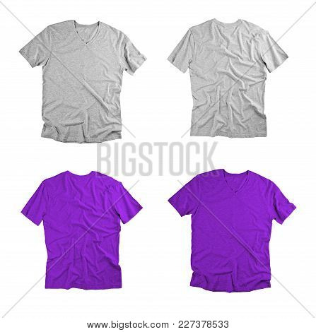 Front And Back View Of Colored T-shirts On White Background