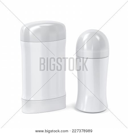 Antiperspirant Stick And Roll-on On White Background, 3d Illustration