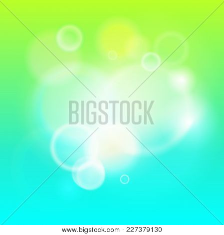 Abstract Modern Lights Background Defocused And Gradient Texture. Green Nature Blurred Backdrop. Viv
