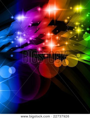Abstract Space Scenary of llight with Raibow Colours Background. Ideal for futuristic hgh tech business flyer or posters