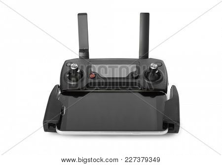 Radio remote control for drone - isolated on white background