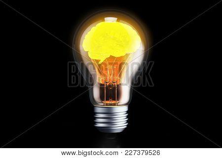 Brain Inside Light Bulb, Idea Concept. 3d Rendering