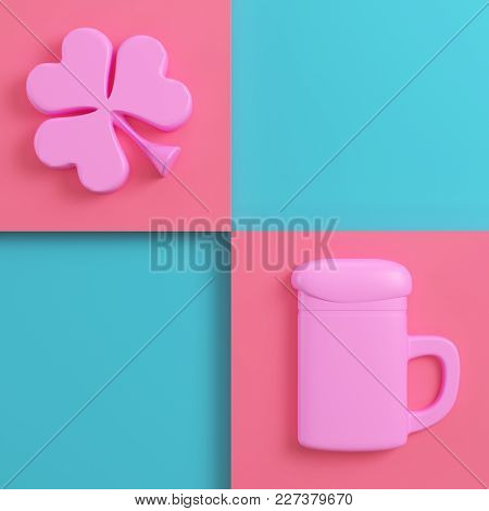 Clover And Beer Mug On Bright Red Blue Background In Pastel Colors. Top View. Minimalism Concept. 3d