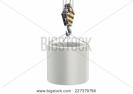 Crane Hook With Manhole Ring. 3d Rendering Isolated On White Background