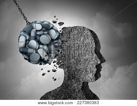 Opioid epidemic health danger and medical crisis with a prescription painkiller addiction concept as a group of pills devastating a patient with 3D illustration elements. poster